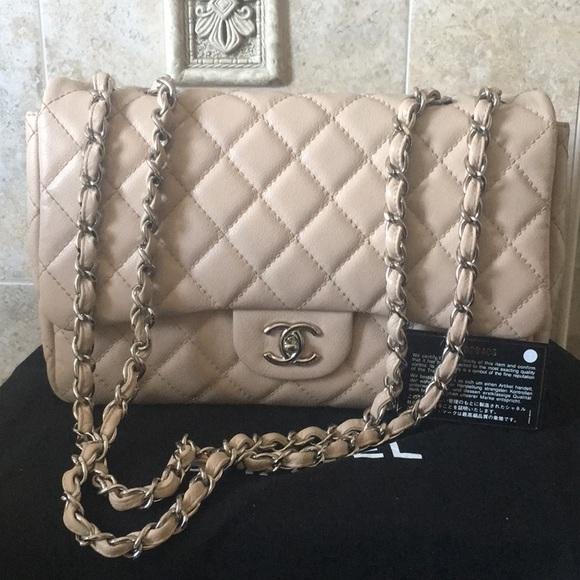 5fedefff07c661 CHANEL Handbags - Chanel Warm Beige Jumbo Caviar Classic Flap SHW